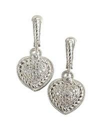 Judith Ripka - Metallic Sterling Silver And White Sapphire Tear Drop Earrings - Lyst