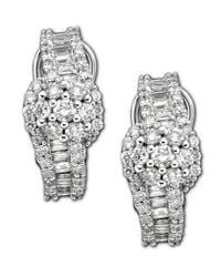 Macy's - Metallic 14k White Gold Earrings, Diamond Cluster (2 Ct. T.w.) - Lyst