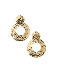 R.j. Graziano - Metallic Hammered Golden Drop Earrings - Lyst