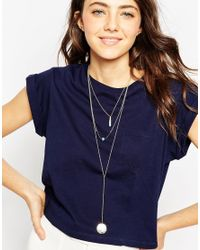 ASOS - Metallic Travel Trinkets Multirow Necklace - Lyst