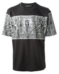 Dolce & Gabbana - Black Printed Panel T-Shirt for Men - Lyst