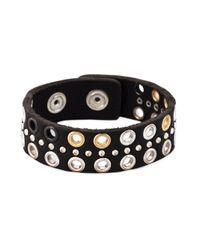 DIESEL   Black Eyelet Embellished Bracelet   Lyst