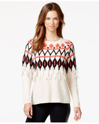 Kensie - Natural Printed Fringe-detail Tissue Knit Sweater - Lyst