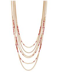 Lucky Brand | Gold-tone Red Bead Layered Necklace | Lyst