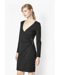 French Connection | Black Lula Stretch-Crepe Wrap Dress  | Lyst