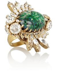 Bijoux Heart | Green Goldplated Swarovski Crystal and Glass Opal Ring | Lyst