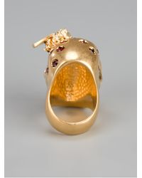 Alexander McQueen - Metallic Skull And Bee Ring - Lyst