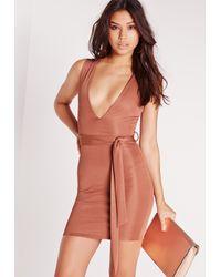 Missguided | Brown Plunge Tie Waist Bodycon Dress Pink | Lyst