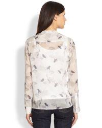 Theory - Natural Brindan Silk Chiffon Printed Blouse - Lyst