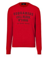 DSquared² - Wool Blend Logo Pullover - Red for Men - Lyst