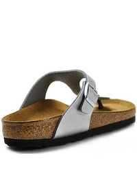 Birkenstock | Gizeh - Silver Metallic Leather Thong | Lyst