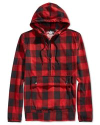 American Rag | Red Buffalo-check Hoodie for Men | Lyst