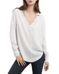 Velvet By Graham & Spencer | White Draped Blouse | Lyst
