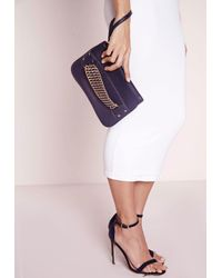 Missguided - Black Chain Strap Mini Grab Bag Navy - Lyst