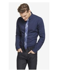 Express | Blue Slim Dot Print Dress Shirt for Men | Lyst