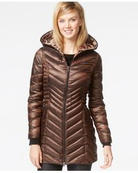 Laundry by Shelli Segal | Metallic Hooded Down Packable Puffer Coat | Lyst