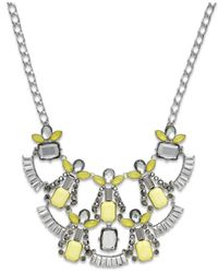 INC International Concepts | Metallic Silver-tone Yellow Stone And Gray Baguette Frontal Necklace | Lyst