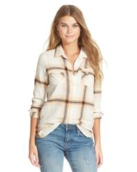 Volcom - Natural 'love Me Not' Plaid Button Front Tunic - Lyst