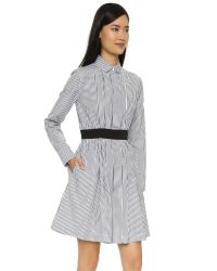 Maison Kitsuné - Gray Striped Pleated Dress - Grey - Lyst