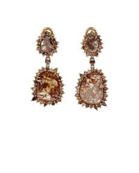 Sharon Khazzam - Brown-diamond Double-drop Earrings - Lyst