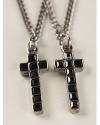 DSquared² | Metallic Double Cross Necklace for Men | Lyst