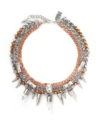 Assad Mounser | Pink 'eno' Mineral Crystal Spike Curb Chain Collar Necklace | Lyst