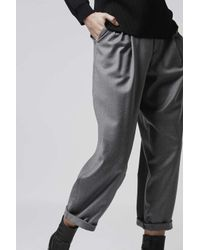 TOPSHOP - Gray Flannel Mensy-fit Trousers By Boutique - Lyst