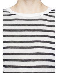 T By Alexander Wang - Multicolor Stripe Linen Blend Jersey T-Shirt - Lyst