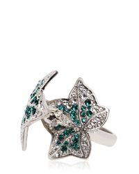 Alexander McQueen - Metallic Ivy Swarovski Crystal Double Finger Ring - Lyst