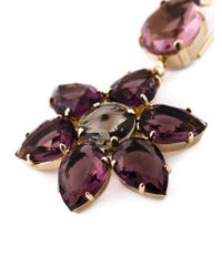 Alberta Ferretti | Pink Crystal Flower Drop Earrings | Lyst