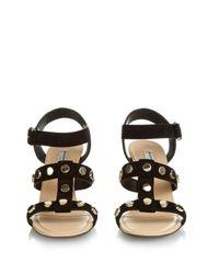 Balenciaga - Black Stud-embellished Suede Wedge Sandals - Lyst