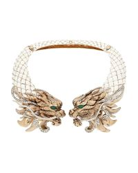 Roberto Cavalli | White Dragon Goldplated Enamel and Swarovski Crystal Necklace | Lyst