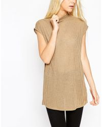ASOS | Natural Sleeveless Longline Top With Side Split And Polo Neck In Interest Rib | Lyst