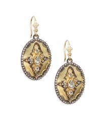 Armenta - Metallic Old World White Sapphire, Diamond & 18k Yellow Gold Oval Drop Earrings - Lyst