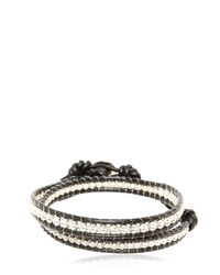 Colana | Black Leather Wrap Bracelet W/ Pure Silver | Lyst
