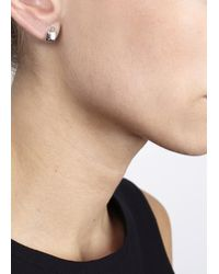 Michael Kors - Metallic Silver Tone Padlock Earrings - Lyst