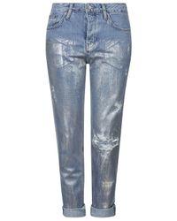 TOPSHOP | Blue Petite Metallic Hayden Jeans | Lyst