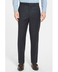 JB Britches | Blue 'torino' Flat Front Windowpane Trousers for Men | Lyst