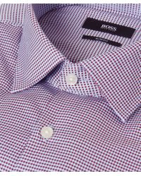 BOSS - Red Micro Check Jenno Shirt for Men - Lyst