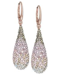 Swarovski | Metallic Swarovksi Rose Gold-Tone Graduated Crystal Teardrop Leverback Earrings | Lyst