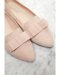 Forever 21 - Natural Faux Suede Bow Flats - Lyst