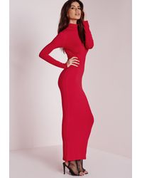 Lyst - Missguided Roll Neck Long Sleeve Bodycon Maxi Red in Red 17bad386f