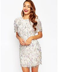 ASOS | Pink Red Carpet Embellished Fringed T-shirt Dress | Lyst
