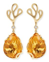 Miseno | Orange Sealeaf Collection 18k Yellow Gold Diamond & Citrine Earrings | Lyst