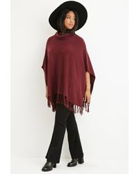 Forever 21 - Purple Plus Size Tasseled Funnel Neck Poncho - Lyst