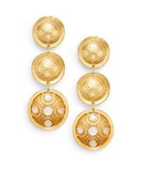 Stephanie Kantis | Metallic Contessa White Quartz Hammered Disc Drop Earrings | Lyst