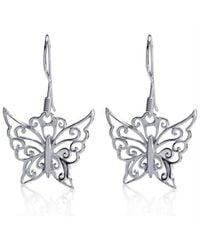 Aeravida | Metallic Gorgeous Swirl Ornate Butterfly .925 Silver Dangle Earrings | Lyst