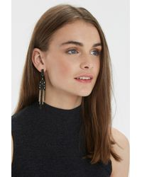 Oasis - Black Ethnic Tassel Drop Earrings - Lyst
