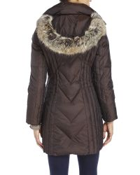 Anne Klein | Metallic Faux Fur Trim Hood Down Coat | Lyst