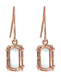 Suzanne Kalan | Pink Rose Gold Barrel Green Envy Topaz Drop Earrings | Lyst
